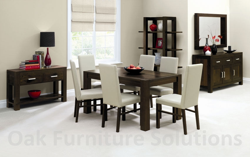 Walnut 150cm Dining Table & 6 Ivory Leather
