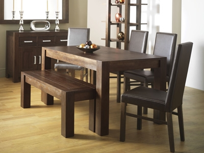 Walnut Dining Table 150cm and 4 Brown