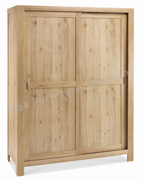 Washed Oak Sliding Door Large Double Wardrobe