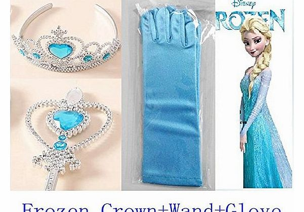 Queen Elsa Princess Anna Magic Wand + Rhinestone Tiaras + Hair Crown + Glove Girl Gift SET