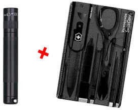 Torch AAA x1 Solitaire with Victorinox Swiss Card - Black - Ref K3A0133T - #CLEARANCE