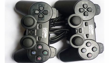 Perfect Gift!!! Brand New USB Double Shock Dual PC Game Pads, Two gamepads share one USB connection Black,From UK, Quick Delivery