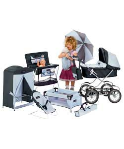 Deluxe Pram with 20 Piece Play Set and Doll