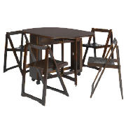 Butterfly Table & 4 Chairs, Dark Wood