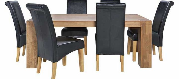 Oak Dining Table and 6 Black Scroll Back