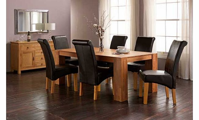 Oak Dining Table and 6 Chocolate Scroll