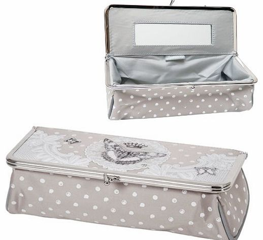 Make-up Pouch / Bag Kisslock ``LE REGNE DES PAPILLONS`` (design The Reign of Butterflies) With Inside Mirror - Bathroom atmosphere Cosmetic MakeUp Kit Beauty Purse Bag Case Travel - Original Gift Ideas