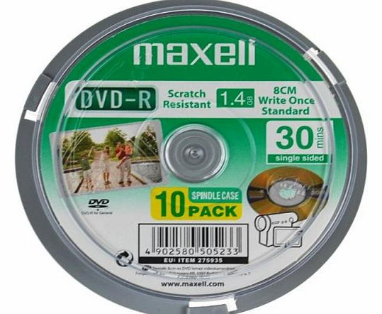 Maxell 8cm DVD-R Camcorder 10 Pack Spindle 30 Mins