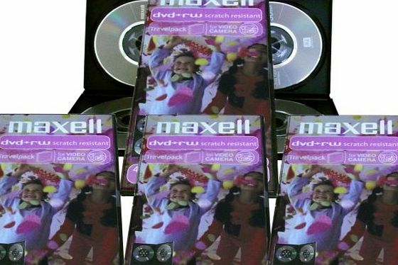 Maxell mini DVD-RW blank rewritable media in slim Case (16 discs of 8cm DVD-RW) for DVD camcorders or general data storage