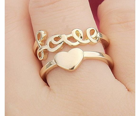 Gold Plated Love Letter Heart Finger Ring Double Layers Opening Ring Meawmeaw Store