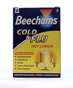BEECHAMS COLD and FLU HOT LEMON X 10 SACHETS