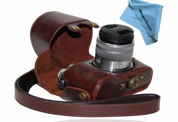 ``Ever Ready`` Protective Dark Brown Leather Camera Case , Bag for Panasonic LUMIX GX7 with 14-42mm and 20mm Lens