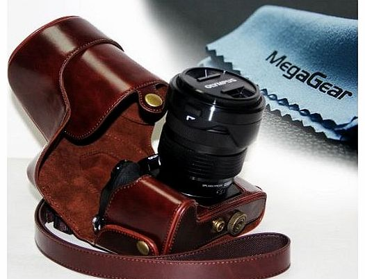 ``Ever Ready`` Protective Fitted Leather Camera Case , Bag for For Olympus OM-D E-M1 with Lens (Dark Brown)