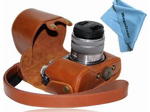 ``Ever Ready`` Protective Light Brown Leather Camera Case , Bag for Panasonic LUMIX GX7 with 14-42mm and 20mm Lens