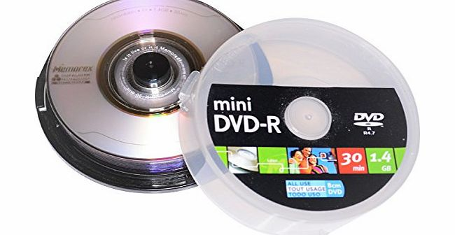 Memorex 10 8cm Mini Blank DVD-R Discs with Duralayer Technology Disc for scratch resistance (Media Code RITEK GO4 RITEKGO4) Ideal for Mini DVD Camcorders and Backups