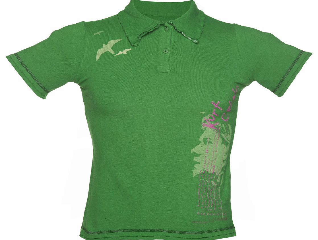 Green Kurt Cobain Nirvana Distressed Polo