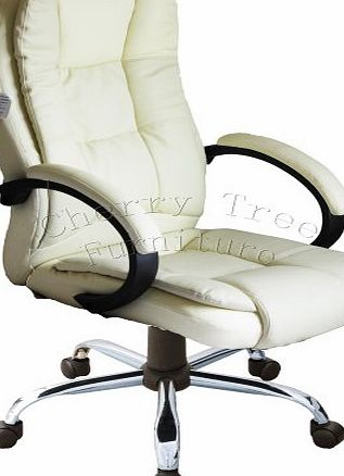 Meriden Furniture Company Ltd Modern Design High Back PU Leather Chrome Base Office Chair In three Colors (Cream)