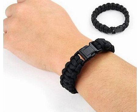 Survival Bracelet Camping Wristband, Black 7 Inches