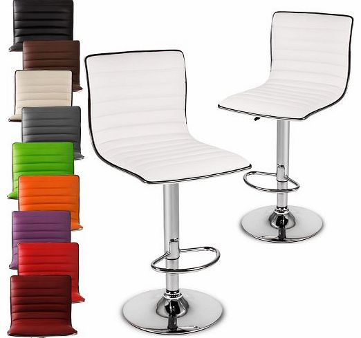 Miadomodo® LBHK05 Two Bar Stools DIFFERENT COLOURS (White)
