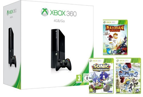 Xbox 360 4GB Console with Wireless Controller and 3 Game Family Pack (Xbox 360)