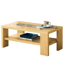 Beech Effect Coffee Table with Glass