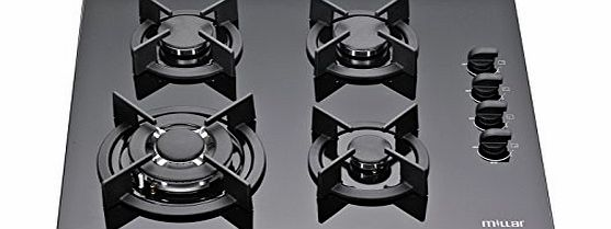 Millar  GH6041XEB 60cm Built-in 4 Burner Gas on Glass Hob / Cooker / Cooktop with FFD