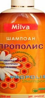 Milva Natural Honey-Bee Propolis Shampoo - Strengthens Hair, Promotes Growth, Removes Dandruff - Soothes Scalp, Stops Itching - 200ml