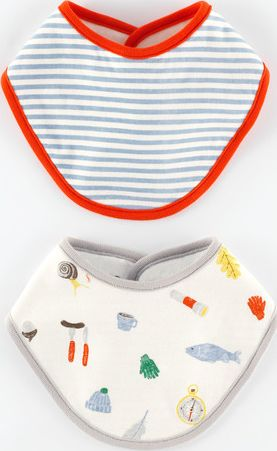 Mini Boden 2 Pack Dribble Bibs Baby Camping/Blue Stripe