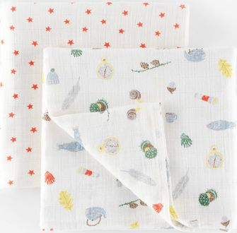 Mini Boden 2 Pack Soft Muslin Blankets Baby Camping/Sunset