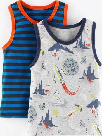 Mini Boden 2 Pack Vests Rockets Pack Mini Boden, Rockets