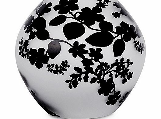 Contemporary White Frosted Glass Black Floral Leaf Damask Pattern Round Ball Glass Table Lamp Light