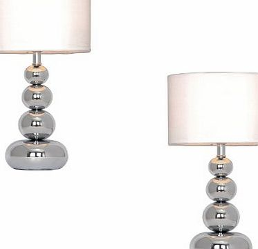 Pair of - Chrome Stacked Balls Touch Table Lamps With White Faux Silk Shades