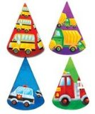 PARTY WHEELS PARTY HATS X 8 - FIRE ENGINE, FARM TRACTOR, POLICE CAR, SCHOOL BUS PARTY SUPPLIES AND PRODUCTS