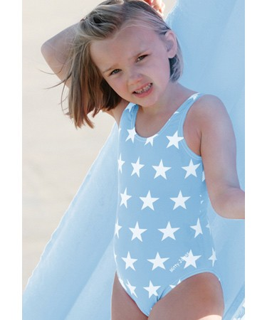 Sky blue stars patterned scoop neck swimsuit