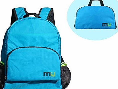 Packable Handy Lightweight Nylon Backpack Daypack - Foldable and Water Resistant (Blue)