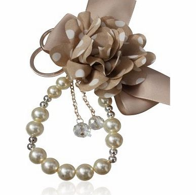 Special Gift Oh So Charming Silk Flower and Pearl Bag Charm