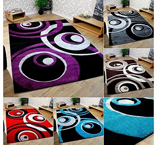 ***CHOICE OF 5 COLOURS *** Black Purple Red Grey Brown Cream Teal Blue Swirls Pattern Modern Rug Large Room Sizes Designer Stunning Lounge Rugs