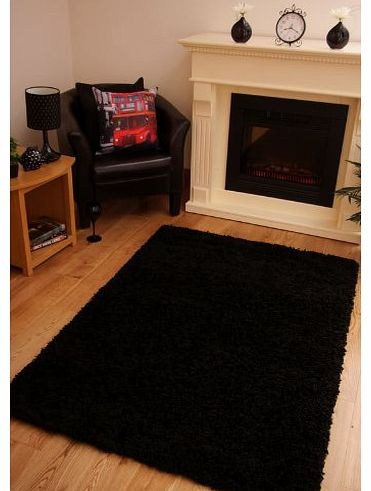 LUXURY SUPER SOFT BLACK SHAGGY RUG 7 SIZES AVAILABLE 120cm x 170cm (4ft x 5ft 7)