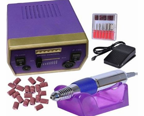 Purple 30,000 RPM Electric Nail Art Drill File Nail Drill Sand Bits Manicure Pedicure Kits Professional Beauty Tool TRV-1