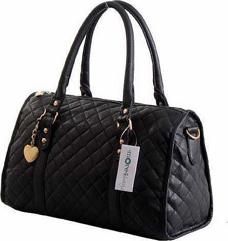 More4bagz Ladies Womens Designer Style Quilted Boutique Shoulder Handbag Bag (Black)