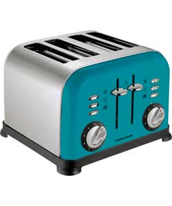 Morphy Richards Accents 4 Slice Toaster - Cyan