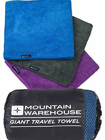 Mountain Warehouse Giant Travel Towel - 135cm x 70cm - Micro Towelling Ideal for Bath, Swimming, Beach, Gym, Bikram, Yoga, Pilates, Camping, Hiking, Walking - Quick Drying Antibacterial Sports Towel, by Mountain Warehou
