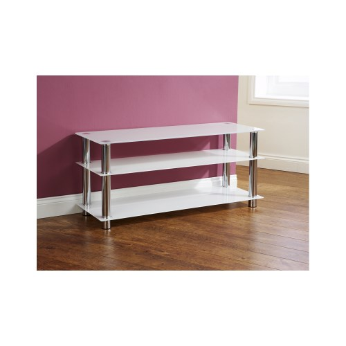 Ulysses Wide Glass and Chrome TV Stand