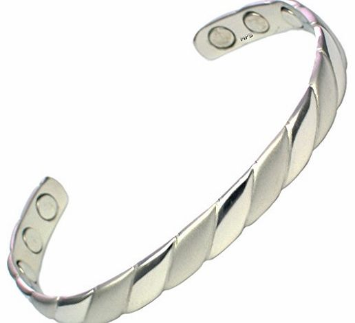 Ladies Silver Tone Magnetic Bangle / Bracelet with Six magnets - Will fit a wrist up to 16.5 cm