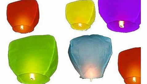 Mr Wongs 10 Pack of Mixed Colour Sky Paper Chinese Lanterns Wedding Khoom Fay
