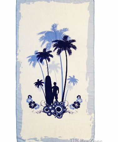 MTS Large Microfibre Beach Bath Towel Sports Travel Camping Gym Lightweight 4 Designs Camper Van Palm Pink Or blue 75x150cm (Palm Blue)