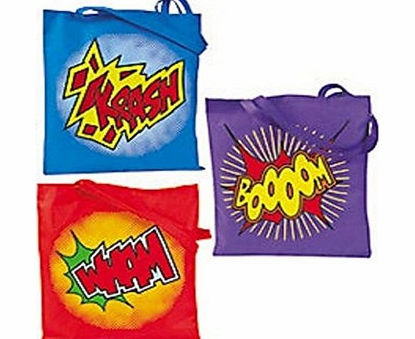 Pack of 3 - Large Superhero Tote Bags - Nonwoven Polyster - Great for X-Men,Spiderman,Marvel Super Heroes Party Loot Bags