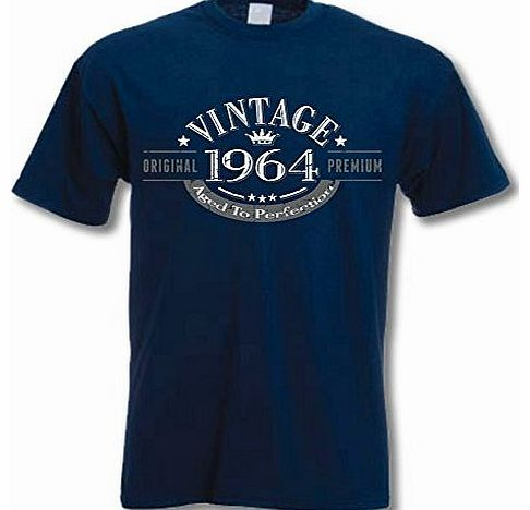 1964 Vintage Year - Aged to Perfection - 50th Birthday Gift / Present Mens T-Shirt Navy XL