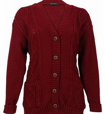 52I Womens Wine Casual Chunky Knitted Aran Button Up Ladies Cardigan Size 12/14