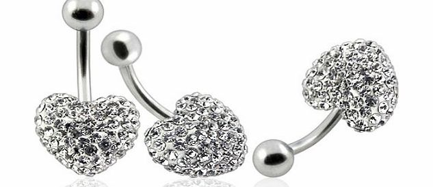 BELLY Heart metal Cap Clear :surgical steelSwarovski crystals belly bar (Special Silicon enamel coated for stones protection) - naval ring titanium grade 23 Nickel free bar length 12mm - hand made wit